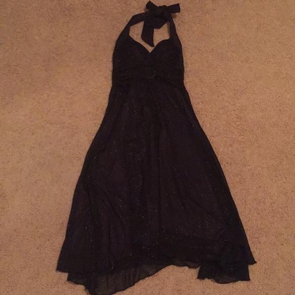City Triangles Dresses Purple And Black Semi Formal Halter Dress